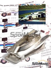 This Way Up: Model car kit 1/43 scale - Shadow DN8A Ambrosio #16, 17 - Alan Jones (AU), Renzo Zorzi (IT) - South African Grand Prix, USA West Long Beach Grand Prix 1977 - photo-etched parts, turned metal parts, water slide decals, white metal parts and assembly instructions