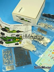 This Way Up: Model car kit 1/43 scale - Token Ford RJ02 Titan Properties #42 - Tom Pryce (GB) - Belgian Grand Prix 1974 - photo-etched parts, turned metal parts, water slide decals, white metal parts and assembly instructions