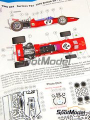 This Way Up: Model car kit 1/43 scale - Surtees TS17 BP Firestone #20 - John Surtees (GB) - British Grand Prix 1970 - photo-etched parts, turned metal parts, water slide decals, white metal parts and assembly instructions