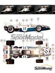 This Way Up: Model car kit 1/43 scale - Brabham Ford BT33 #11 - Rolf Stommelen (DE) - Austrian Grand Prix 1970 - photo-etched parts, turned metal parts, water slide decals, white metal parts and assembly instructions