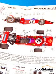 This Way Up: Model car kit 1/43 scale - Surtees TS17 #18 - Derek Bell (GB) - USA Grand Prix 1970 - photo-etched parts, turned metal parts, water slide decals, white metal parts and assembly instructions