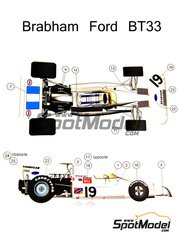 This Way Up: Model car kit 1/43 scale - Brabham Ford BT33 #19 - Graham Hill (GB) - South African Grand Prix 1972 - photo-etched parts, turned metal parts, water slide decals, white metal parts and assembly instructions