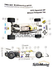 This Way Up: Model car kit 1/43 scale - Brabham Ford BT33 #22 - Emerson Fittipaldi (BR) - Spanish Grand Prix 1972 - photo-etched parts, turned metal parts, water slide decals, white metal parts and assembly instructions