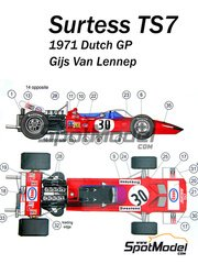 This Way Up: Model car kit 1/43 scale - Surtees TS7 Esso #30 - Gijs van Lennep (NL) - Dutch Grand Prix 1971 - photo-etched parts, turned metal parts, water slide decals, white metal parts and assembly instructions