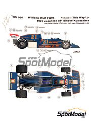This Way Up: Model car kit 1/43 scale - Williams Wolf FW05 Wolf Racing #21 - Hans Binder (AT) - Japan Grand Prix 1976 - photo-etched parts, turned metal parts, water slide decals, white metal parts and assembly instructions