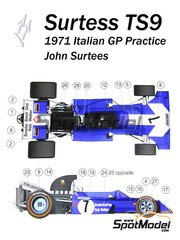This Way Up: Model car kit 1/43 scale - Surtees TS9B Rob Walker #7 - John Surtees (GB) - Italian Grand Prix 1971 - photo-etched parts, turned metal parts, water slide decals, white metal parts and assembly instructions