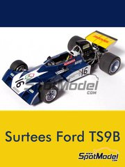 This Way Up: Model car kit 1/43 scale - Surtees Ford TS9B Matchbox #16 - Timothy Theodore 'Tim' Schenken (AT) - South African Grand Prix 1972 - photo-etched parts, turned metal parts, water slide decals, white metal parts and assembly instructions image