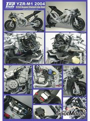 Top Studio: Detail up set 1/12 scale - Yamaha YZR-M1 - World Championship 2004 - photo-etched parts, resin parts, turned metal parts, other materials and assembly instructions - for Tamiya kits