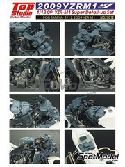 Top Studio: Detail up set 1/12 scale - Yamaha YZR-M1 - Motorcycle World Championship 2009 - metal parts, photo-etched parts, resin parts, turned metal parts, other materials and assembly instructions - for Tamiya references TAM14117, 14117, TAM14119, 14119, TAM14120 and 14120