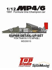 Top Studio: Detail up set 1/12 scale - McLaren Honda MP4/6 - CNC metal parts, assembly instructions, metal parts, photo-etched parts, resin parts, turned metal parts and other materials - for Tamiya kit TAM89721