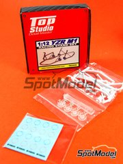 Top Studio: Detail 1/12 scale - Yamaha YZR-M1 Racing Stand Set - for Tamiya references TAM14098, TAM14100, TAM14104, TAM14117, TAM14119 and TAM14120