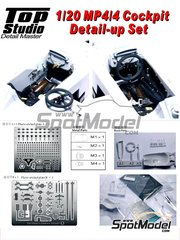 Top Studio: Detail up set 1/20 scale - McLaren Honda MP4/4 Cockpit Detail-up Set - resin, metal pieces and photo-etched parts - for Tamiya kit