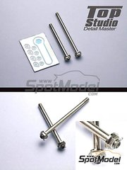Top Studio: Nuts 1/12 scale - Hex nuts with axle for front and rear MotoGP wheel - CNC metal parts and photo-etched parts