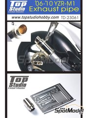 Top Studio: Exhaust 1/12 scale - Yamaha YZR-M1 2006, 2007, 2008, 2009 and 2010 - photo-etched parts and metal parts