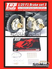 Top Studio: Detail 1/20 scale - F1 Brake set 3 for McLaren MP4/5B  MP4/5 - for Fujimi references FJ090573, 090573, 09057, GP-16 and GP16, or Tamiya references TAM89720 and 89720