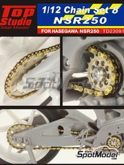 Top Studio: Chain set 1/12 scale - Honda NSR250 - metal parts and photo-etched parts - for Hasegawa reference 21502