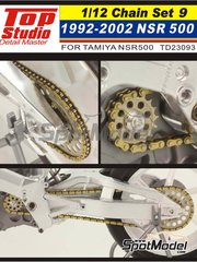 Top Studio: Chain set 1/12 scale - Honda NSR500 - Motorcycle World Championship 1992, 1993, 1994, 1995, 1996, 1997, 1998, 1999, 2000, 2001 and 2002 - metal parts and photo-etched parts - for Tamiya references TAM14071 and TAM14077