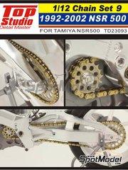 Top Studio: Cadena escala 1/12 - Honda NSR500 1992-2002 - piezas de metal y fotograbados - para kits de Tamiya TAM14071 y TAM14077