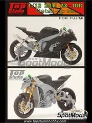 Top Studio: Detail up set 1/12 scale - Kawasaki ZX-10R 2011 - metal parts, photo-etched parts, resin parts, turned metal parts and assembly instructions - for Fujimi reference FJ14138