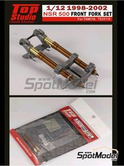 Top Studio: Front fork set 1/12 scale - Honda NSR500 - Motorcycle World Championship 1998, 1999, 2000, 2001 and 2002 - metal parts, photo-etch and resins - for Tamiya kits TAM14071, TAM14077