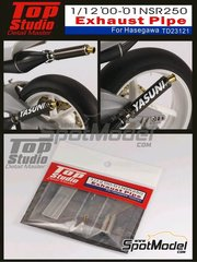 Top Studio: Escapes escala 1/12 - Honda NSR250 2000 y 2001 - piezas de metal y fotograbado - para las referencias de Hasegawa 21502 y BK-2