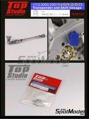 Top Studio: Set de mejora y detallado escala 1/12 - Honda NSR250 - Transponder and shift linkage - Transponder y varilla del cambio 2000 y 2001 - piezas de metal y resinas - para las referencias de Hasegawa 21502 y BK-2