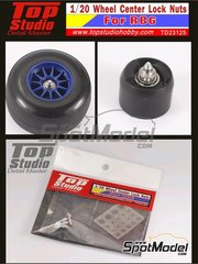 Top Studio: Detail 1/20 scale - RB Racing Renault RB6 - Wheel center lock nuts - metal parts and photo-etched parts - for Tamiya kit TAM20067