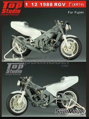 Top Studio: Detail up set 1/12 scale - Suzuki RGV-G XR74 - metal parts, resins and photo-etched parts - for Fujimi references FJ141435 and FJ141510