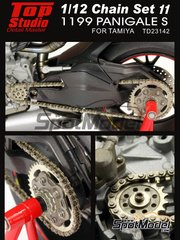 Top Studio: Chain set 1/12 scale - Ducati 1199 Panigale S - photo-etched parts, metal parts - for Tamiya references TAM14129 and TAM14132