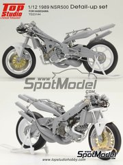 Top Studio: Detail up set 1/12 scale - Honda NSR500 - Motorcycle World Championship 1989 - photo-etched parts, metal parts, resins - for Hasegawa references 21504 and 21714