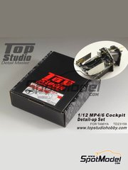 Top Studio: Detail up set 1/12 scale - McLaren Honda MP4/6 - metal parts, photo-etched parts, resin parts, seatbelt fabric, turned metal parts and other materials - for Tamiya kit TAM89721