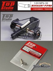 Top Studio: Exhaust 1/20 scale - McLaren Honda MP4/30 - turned metal parts - for Ebbro kits EBR20013, EBR20014 and EBR20015