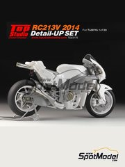 Top Studio: Detail up set 1/12 scale - Honda RC213V 2014 - CNC metal parts, metal parts, photo-etched parts, resin parts, turned metal parts, other materials and assembly instructions - for Tamiya references TAM14130 and 14130