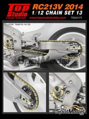 Top Studio: Chain set 1/12 scale - Honda RC213V 2014 - metal parts, photo-etched parts, resin parts, turned metal parts and assembly instructions - for Tamiya reference TAM14130