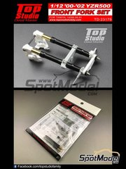 Top Studio: Front fork set 1/12 scale - Yamaha YZR500 - Motorcycle World Championship 2000, 2001 and 2002 - CNC metal parts, photo-etched parts, resin parts, turned metal parts and assembly instructions - for Tamiya references TAM14086, TAM14088 and TAM14091
