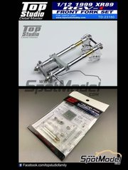 Top Studio: Front fork set 1/12 scale - Suzuki RGV-Gamma XR-89 - Motorcycle World Championship 1999 - photo-etched parts, resin parts, turned metal parts and assembly instructions - for Tamiya reference TAM14081