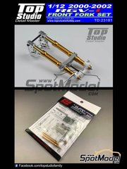 Top Studio: Front fork set 1/12 scale - Suzuki RGV-Gamma XR-89 - Motorcycle World Championship 2000, 2001 and 2002 - photo-etched parts, resin parts, turned metal parts and assembly instructions - for Tamiya references TAM14083 and TAM14089 image