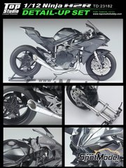 Top Studio: Detail up set 1/12 scale -  Kawasaki Ninja H2R - photo-etched parts, turned metal parts and assembly instructions - for Tamiya kit TAM14131