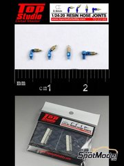 Top Studio: Hose joints 1/20 scale - Hose joints 0.9mm - resin parts
