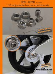 Tuner Model Manufactory: Detail - Adjustable threaded hex nuts and bolts for axle - 4 units