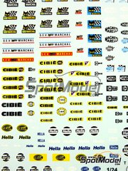 Virages: Logotypes 1/24 scale - Magnetti Marelli, SEV Marchal, Cibie, Hella - water slide decals