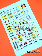 Virages: Logotypes 1/24 scale - 60's to 80's logos: Agip, Ferodo, Gotti, Carello, Kleber, Girling, Bosch, Jaeger, Sicli, Antar, Britax, Antar, Bell, Lucas, AP, Valvoline, OMP, … - water slide decals