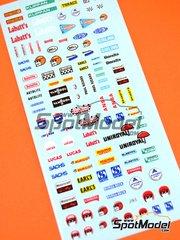 Virages: Logotipos - Logotipos de los años 60 a los 80: Labatt's, Sachs, Bell, Autolite, Cheron, Lucas, Sachs, Gorg&Beck, Uniroyal, Ansa Vanhool, Firestone, Du Pont, Klippan, Bendix, Momo, … - calcas de agua