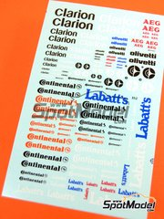 Virages: Logotypes 1/24 scale - Clarion, Continental, Labatt's, AEG, Olivetti - water slide decals