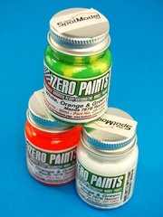 Zero Paints: Paints set - Mazda 787B Renown - White +  Orange + Green - 3x30ml - for Hasegawa reference 20312, or Model Factory Hiro reference MFH-K657, or Studio27 reference ST27-DC959, or Tamiya reference TAM24112