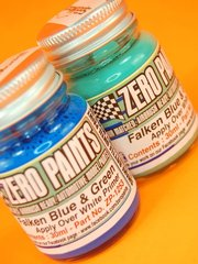 Zero Paints: Set de pinturas - Azul y verde - Equipo Falken Motorsports - Green and Blue paints - 2 x 30ml - para la referencia de Platz PN24002