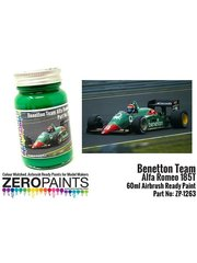 Zero Paints: Pintura - Verde Benetton - Benetton Team Alfa Romeo 185T Green United Colors of Benetton - 1 x 60ml - para Aerógrafo