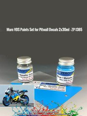 Zero Paints: Paints set - Marc VDS team blue and metallic grey - 2 x 30ml - for Pit Wall kit 12D-002