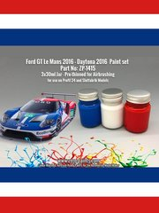 Zero Paints: Paints set - Ford GT 2016 - 3 x 30ml - for Komakai reference KOM-FG008, or Model Factory Hiro references MFH-K619 and K-619, or Profil24 reference P24103, or Revell references REV07041 and 07041, or Zero Paints reference ZP-1415
