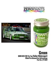 Zero Paints: Paint - Green BMW M3 E30 Tic Tac Valier Motorsport - 1 x 60ml - for Decalcas reference DCL-DEC006